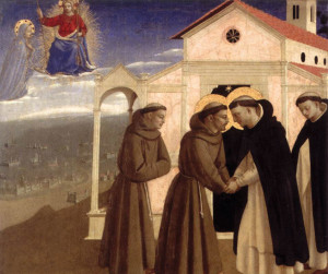 The Meeting of St Francis and St Dominic by Fra Angelico (1429)